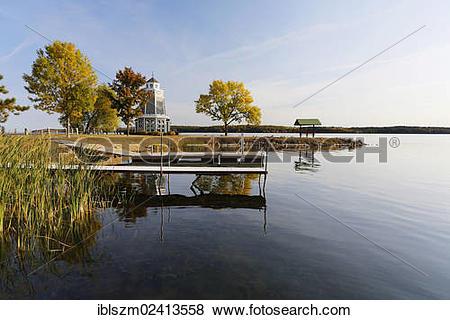 Pictures of Wharf, lakeside, Leech Lake, Walker, Minnesota, USA.