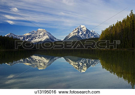 Stock Images of Canadian Rocky Mountains reflected in Leech Lake.