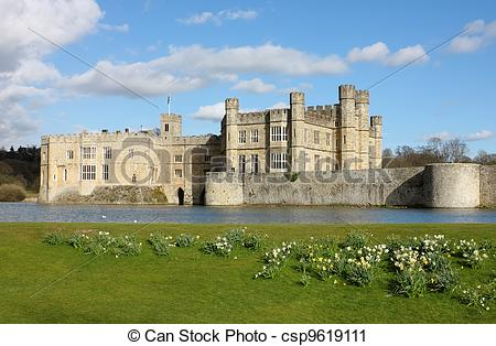 Stock Photography of Leeds Castle in Kent, United Kingdom. Frontal.