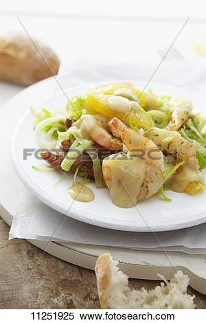 Stock Image of Orange and leek salad with prawns 11251925.