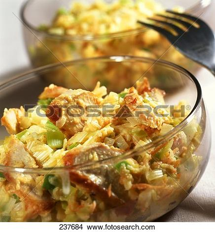 Stock Photo of Chicken and leek salad with curry 237684.