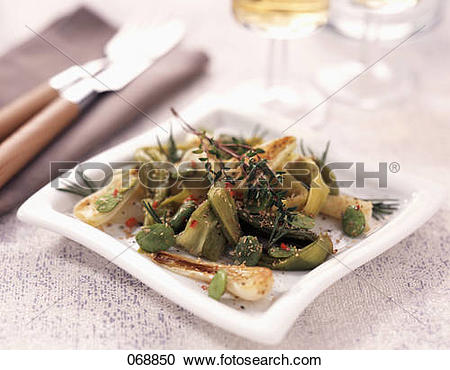 Stock Photography of Leek and broad bean salad with bran 068850.