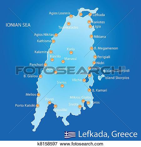 Clip Art of Island of Lefkada in Greece map k8158597.