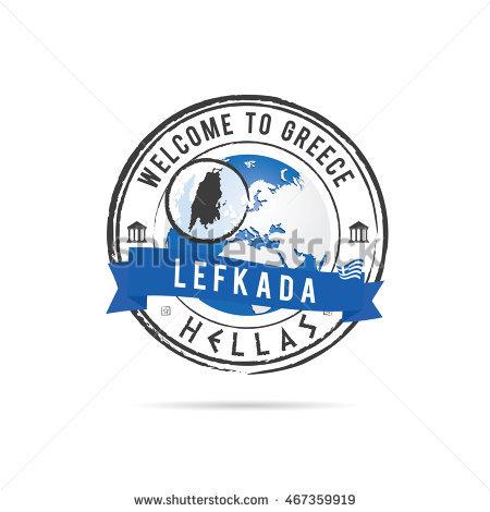 Island Lefkada Greece Map On Blue Stock Vector 91241582.