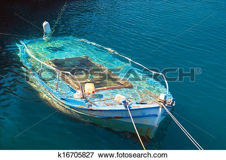 Picture of Traditional fishing boat at Lefkada island in the water.