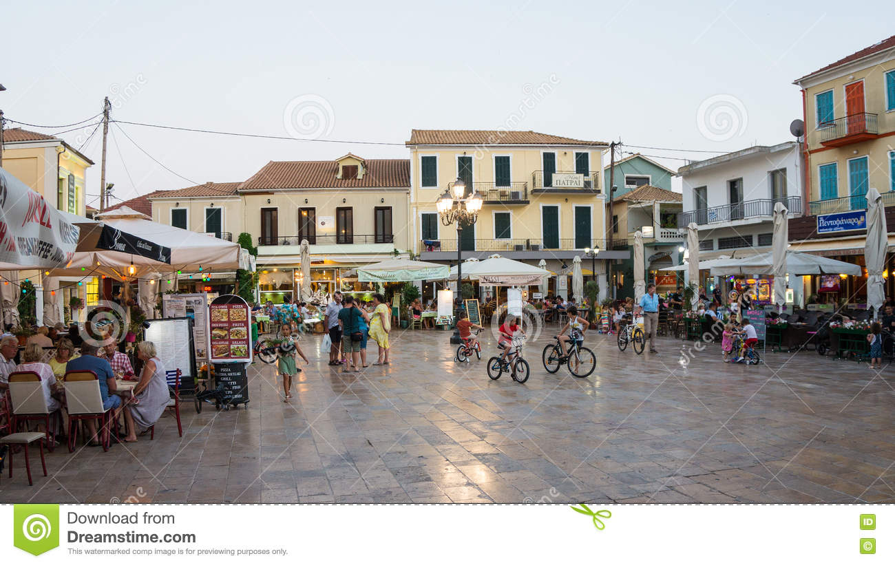 Evening In Lefkada Town, Greece Editorial Stock Photo.
