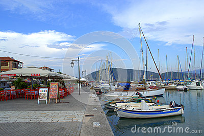 Coastal Street,Lefkada Town Greece Editorial Stock Photo.