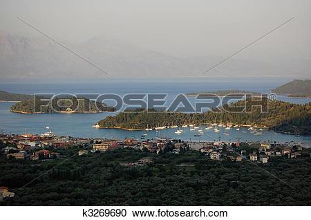 Stock Photography of Village Nidri on the island of Lefkada.