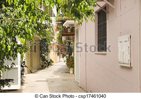 Stock Photo of Shady alley in Lefkas town, Greece.