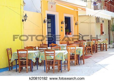 Stock Photo of Traditional greek taverna in the streets of Lefkada.