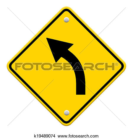 Drawings of Road sign warning of dangerous left curve isolated on.