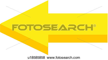 Clip Art of direction, sign, mark, left, arrow u18585858.
