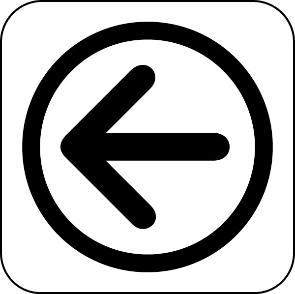 Arrow left: Symbol, Image, Graphics for Direction Signage Design.