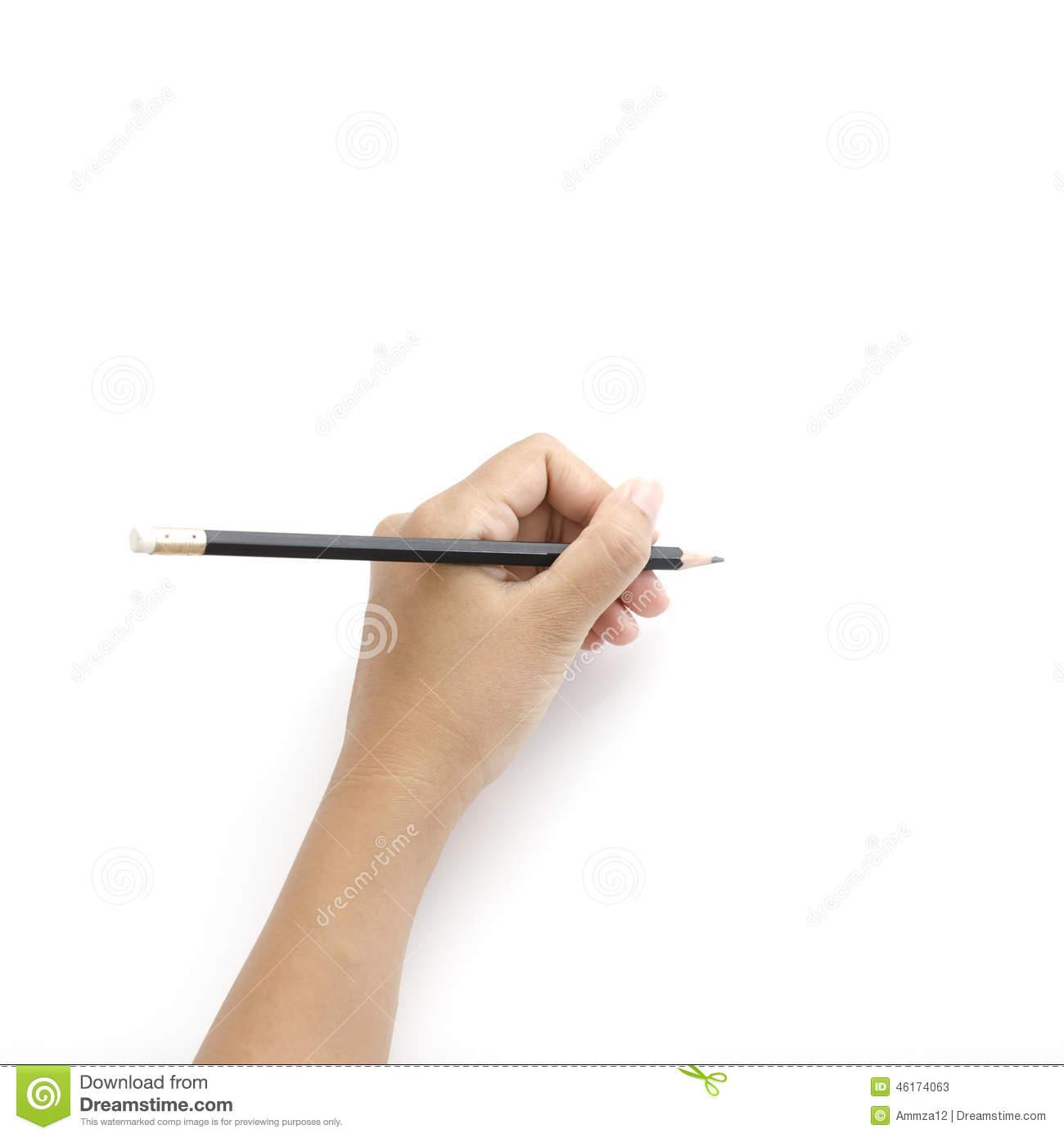 Left Hand Writing Stock Photo.