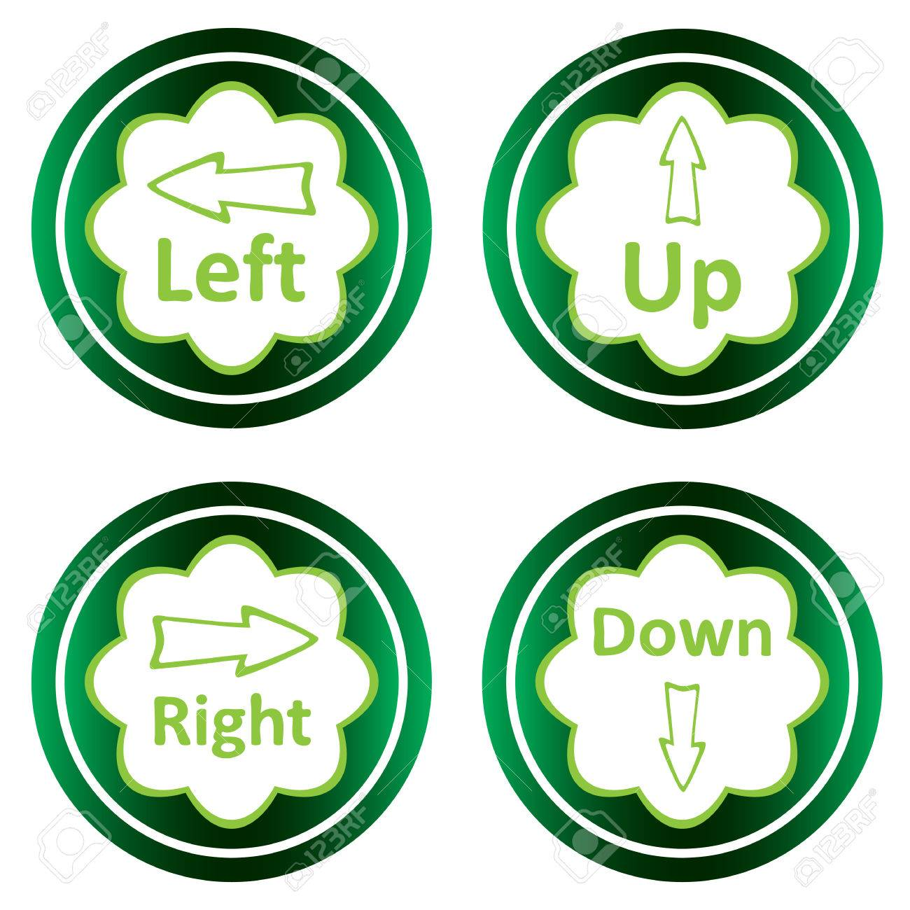 Green icons clipart with arrows up, down, left, right.