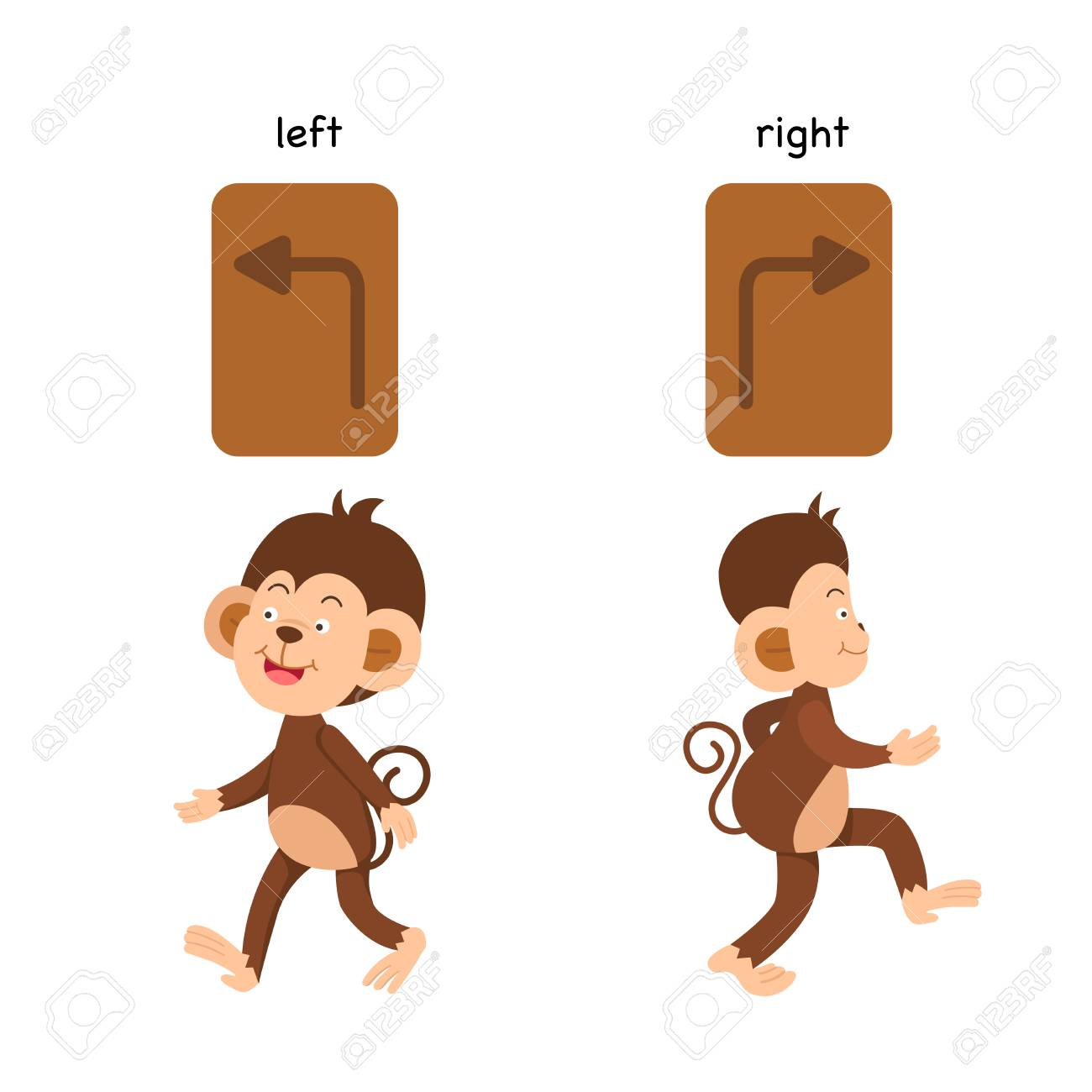 Opposite left and right vector illustration.