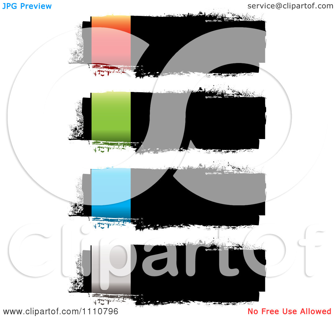 Clipart Grungy Black Ink Banners With Colorful Rectangles On The.