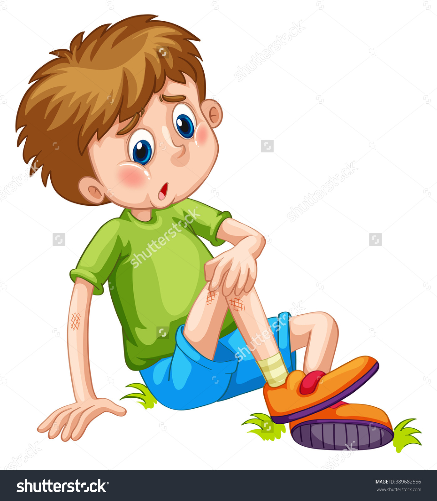 Boy Having Bruises On His Leg Stock Vector 389682556.
