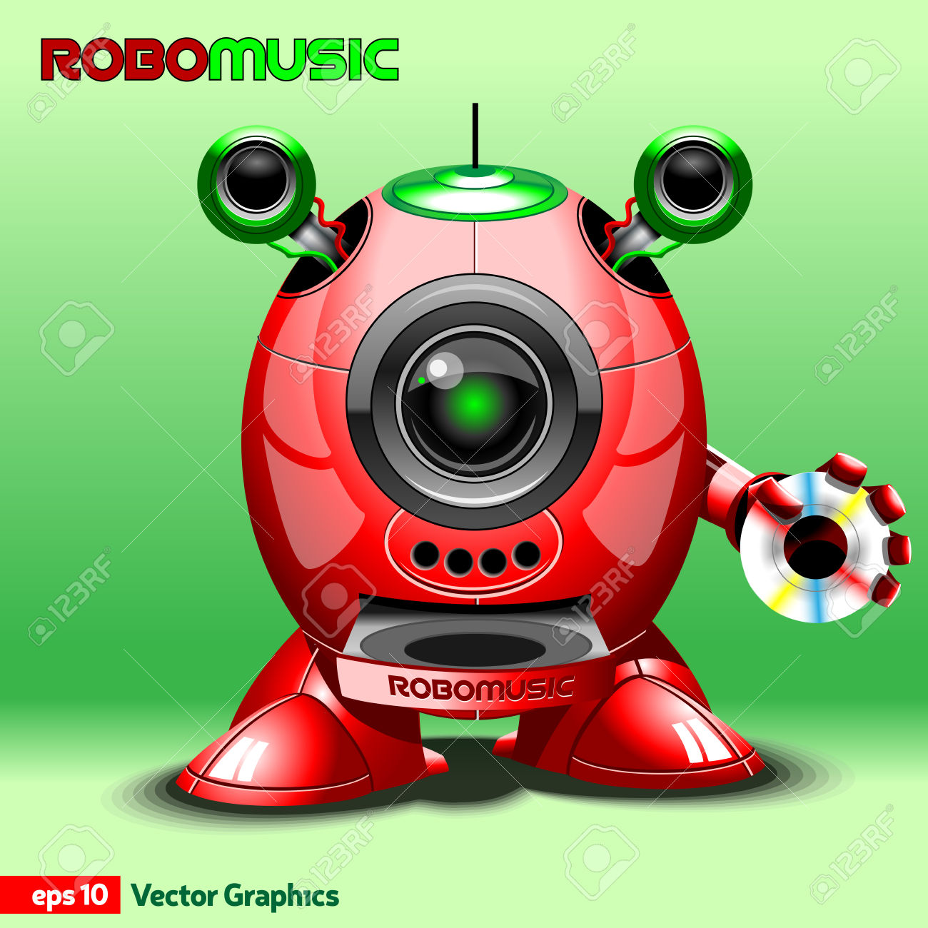 Music Robot With CD Rom, Loudspeakers And Antenna. Red Robot.