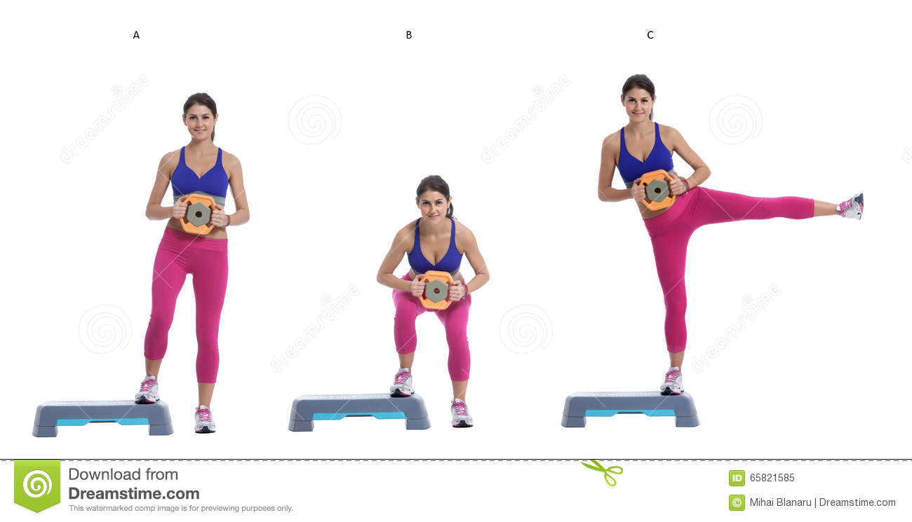 Sumo Squat And Leg Raise With Disc Weight On A Step Stock Photo.