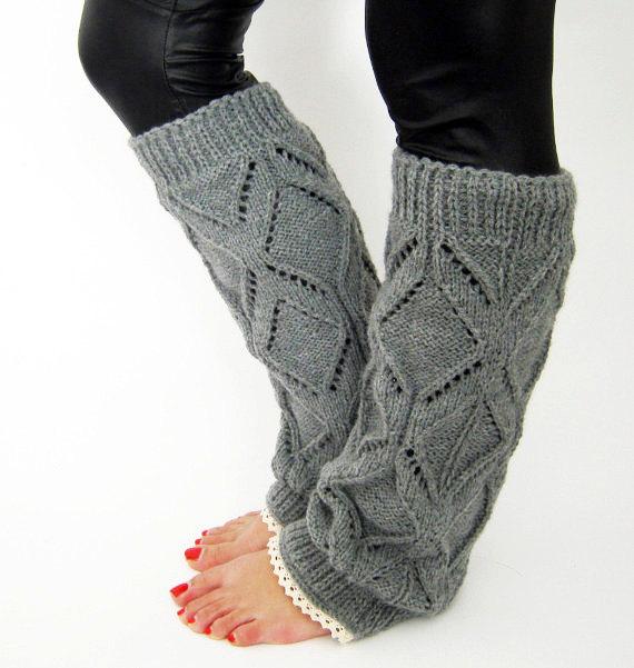 Lacy knitted legwarmers spring gift lace leg by GrandmasWarmYarn.