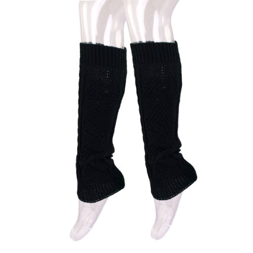 TrendsBlue Premium Solid Color Soft Heart Knit Leg Warmers, Black.