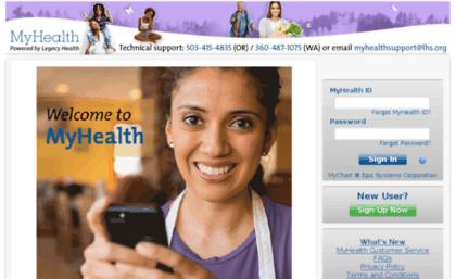 Myhealth.lhs.org website. MyHealth by Legacy Health..