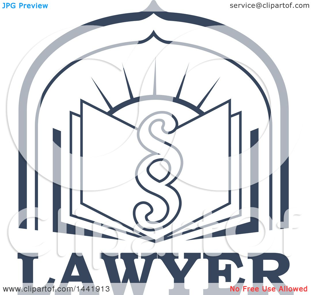 Clipart of a Pargraph Clause or Section Symbol over a Legal Book.