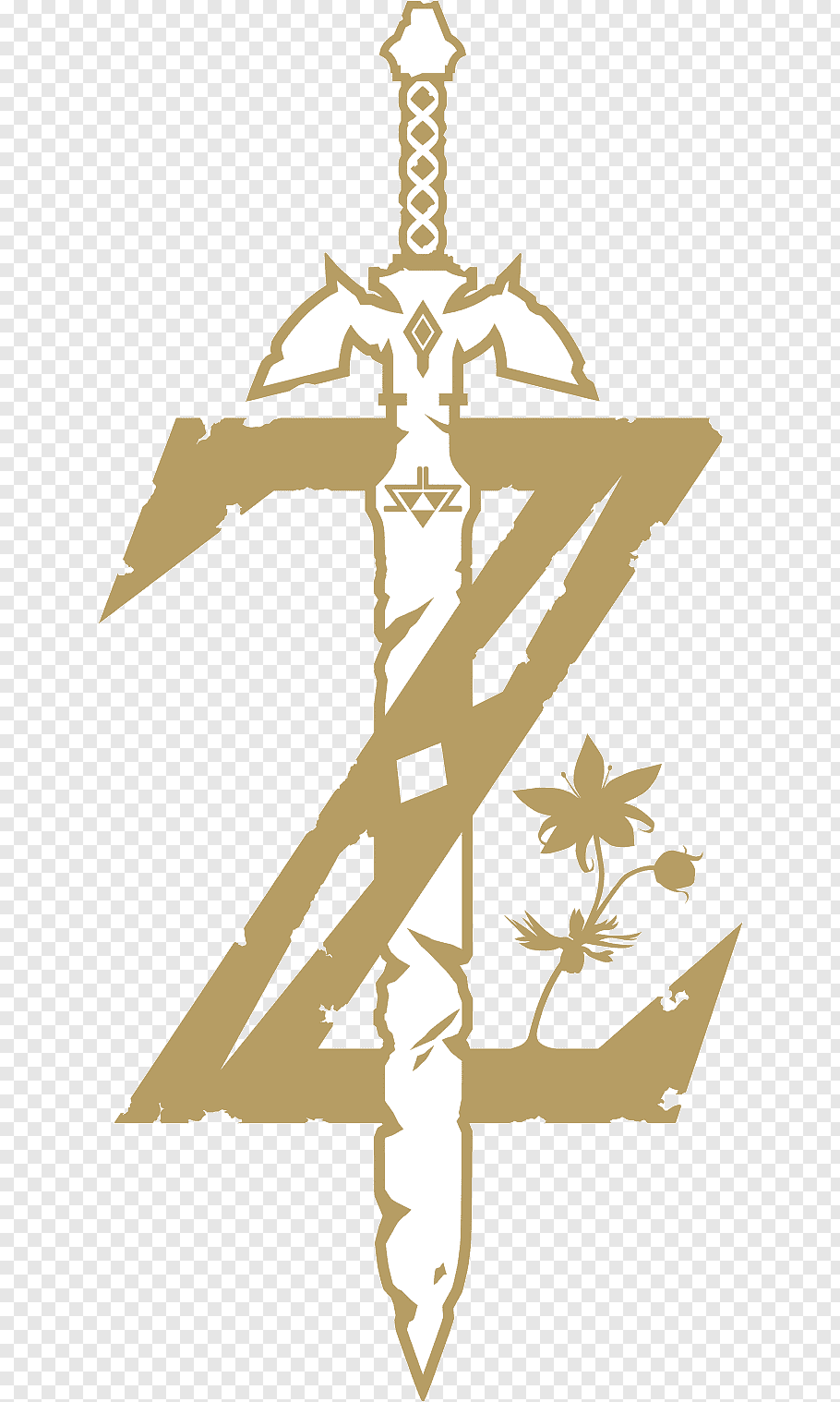 Brown and white The Legend of Zelda Z logo with sword.