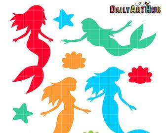 Items similar to Mermaids Clip Art, Legendary Clipart, Sea.