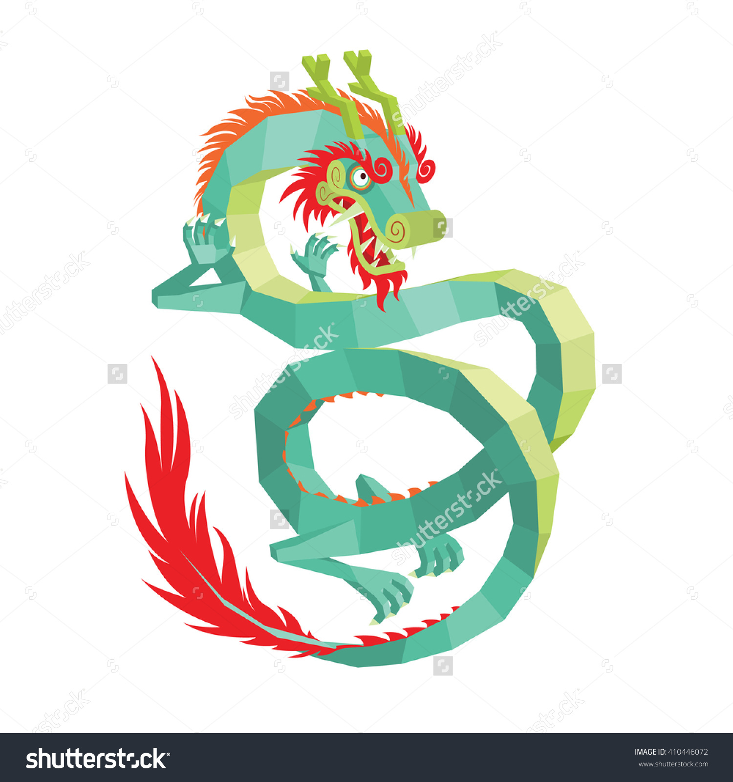 Legendary Creature Chinese Mythology Colorful Asian Stock Vector.