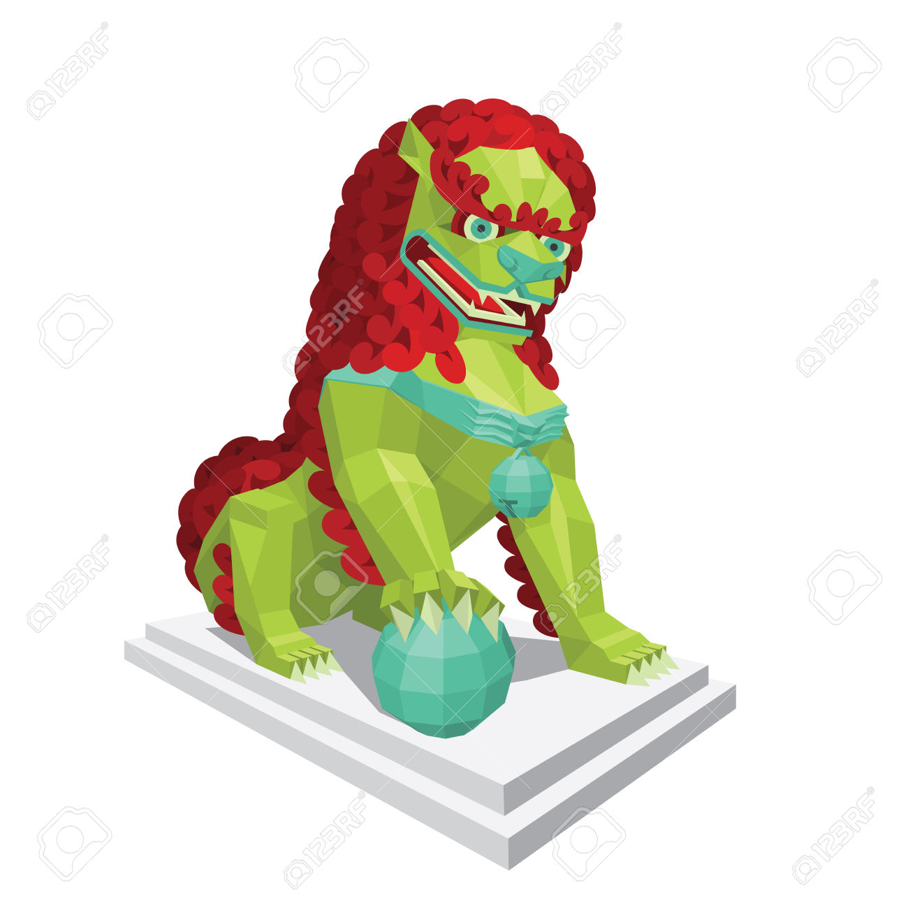 Polygonal Chinese Green Lion With Red Mane. Legendary Creature.