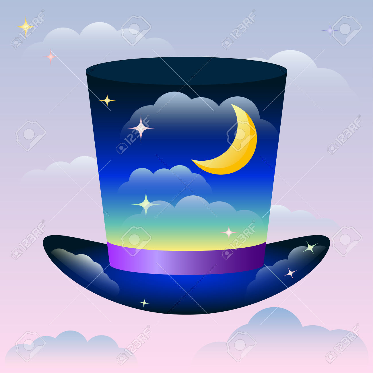 Illustration With Bright Magic Hat Floating In The Sunset Sky.