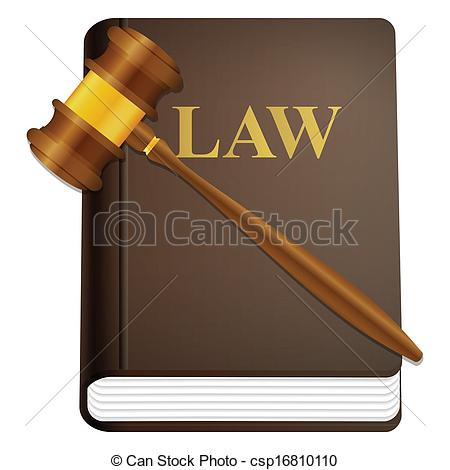 Vector Clip Art of law book and gavel.