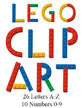 Alphabet lego letters and numbers on clipart.