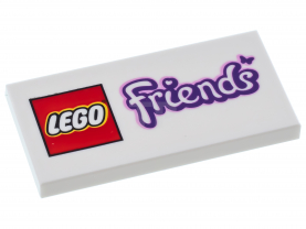 LEGO Tile 2 x 4 with LEGO Friends Logo with Butterfly Pattern.