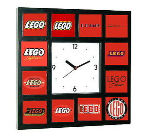 Details about Lego logo history Clock with 12 pictures.