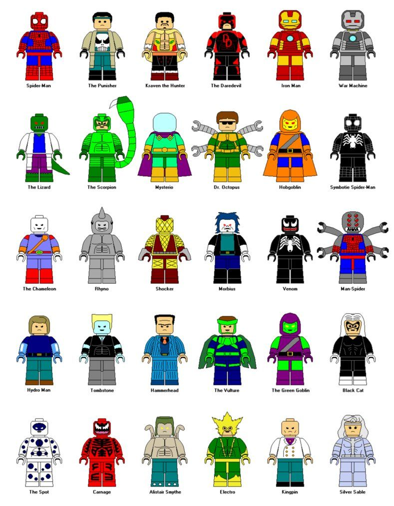 LEGO Spider Man Characters Clipart.