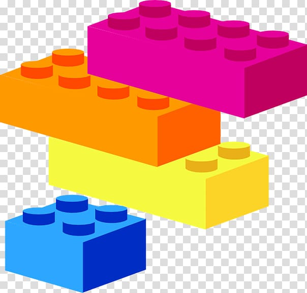 Four purple, orange, yellow, and blue toy blocks.