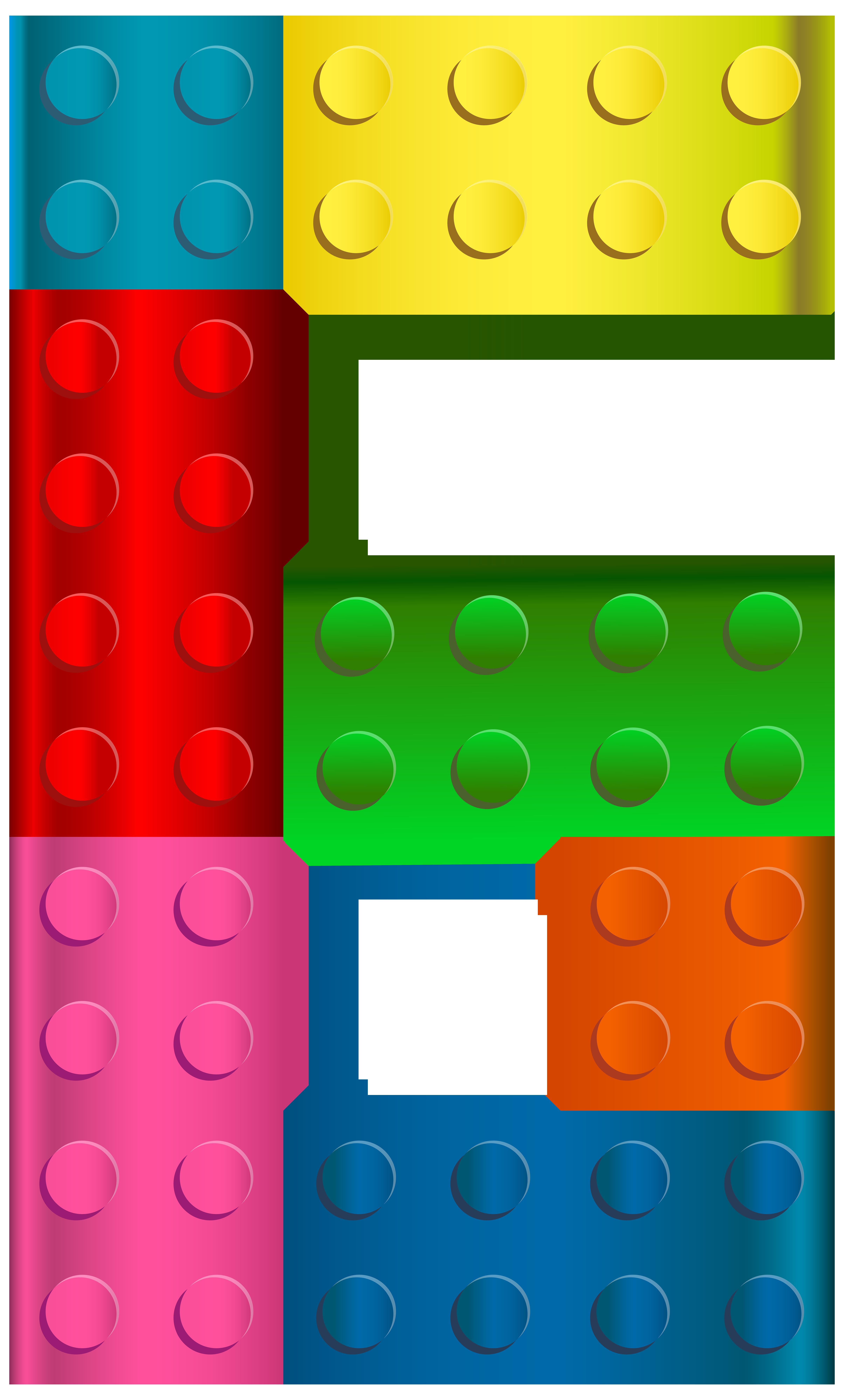 Lego Number Six PNG Transparent Clip Art Image.