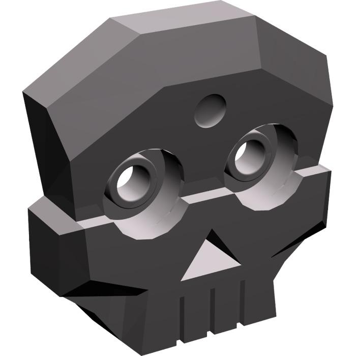 2x LEGO Dark Stone Gray Skull 1 x 3 1/2 X 3 with Two Pins (47990.