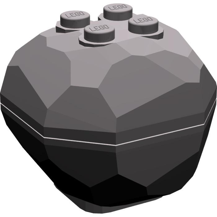 LEGO Dark Stone Gray Rock 4 x 4 x 3.