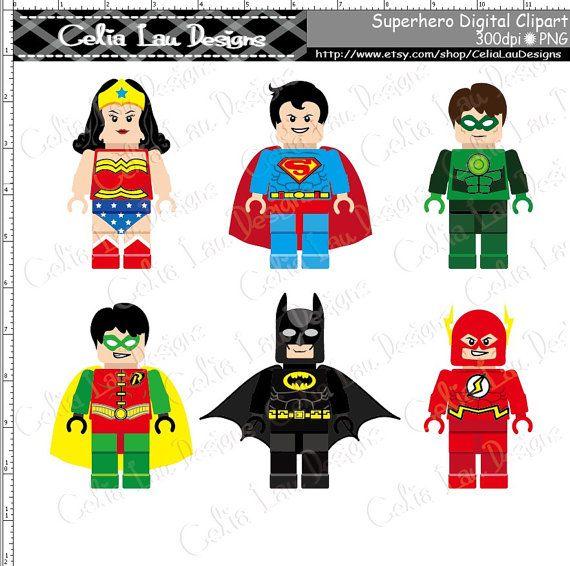 Super Hero Clipart(S007), Cute Superhero Lego clip art.