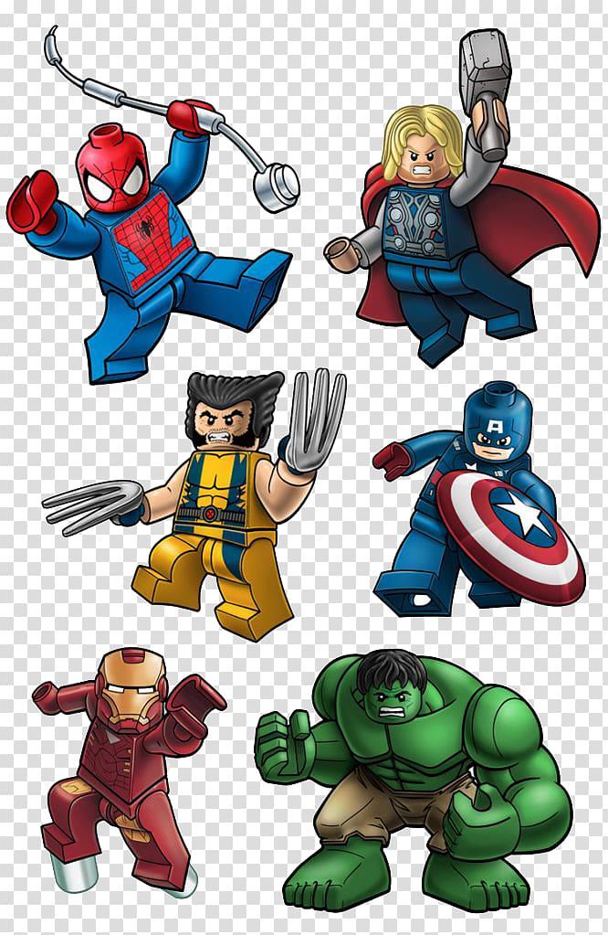 Six Superheroes Lego illustrations, Lego Marvel Super Heroes.