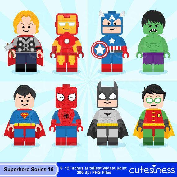 Lego Digital Clipart Lego Superhero Clipart by Cutesiness on.