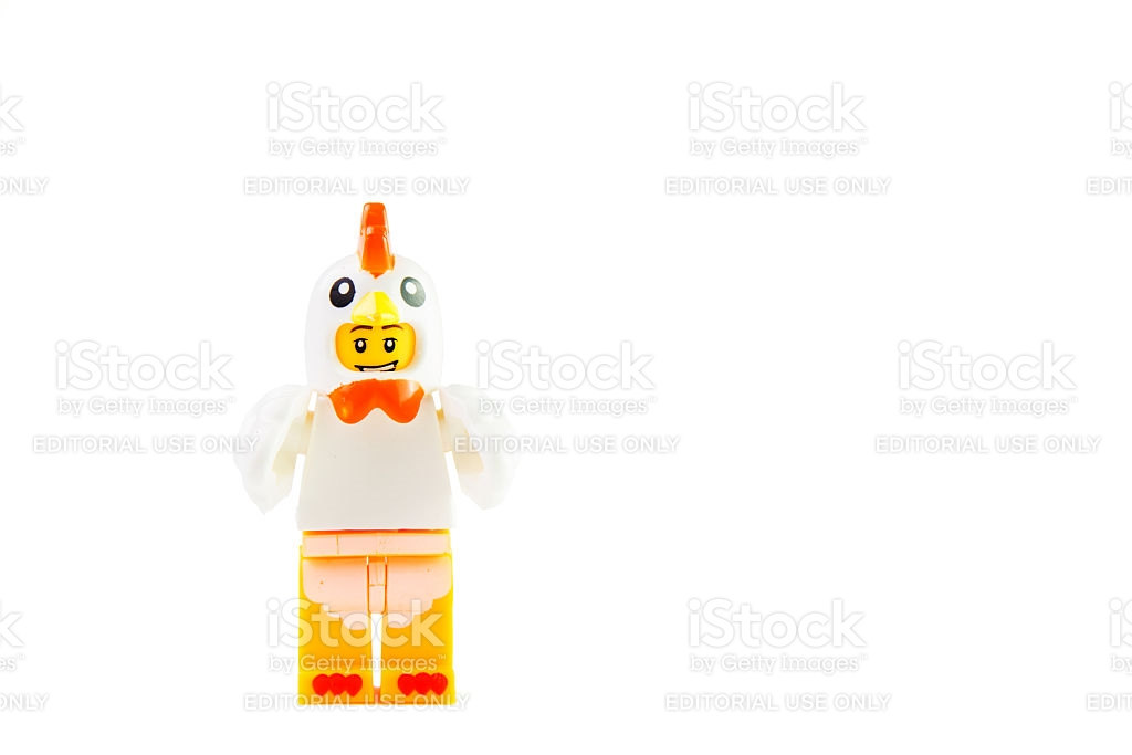 Lego Chicken Mascot Isolated On White Background Clipping Path.