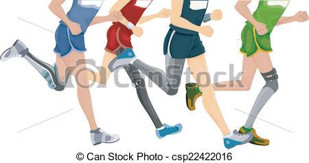 Vector Clip Art of Prosthetic Leg Running.