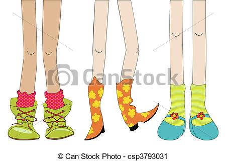 Clip Art Of Sneakers With Legs Clipart.