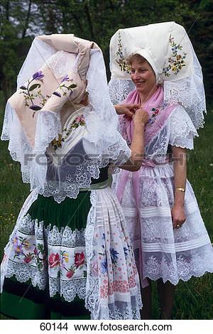 Stock Photo of Two women preparing for spreewalk festival, Lehde.
