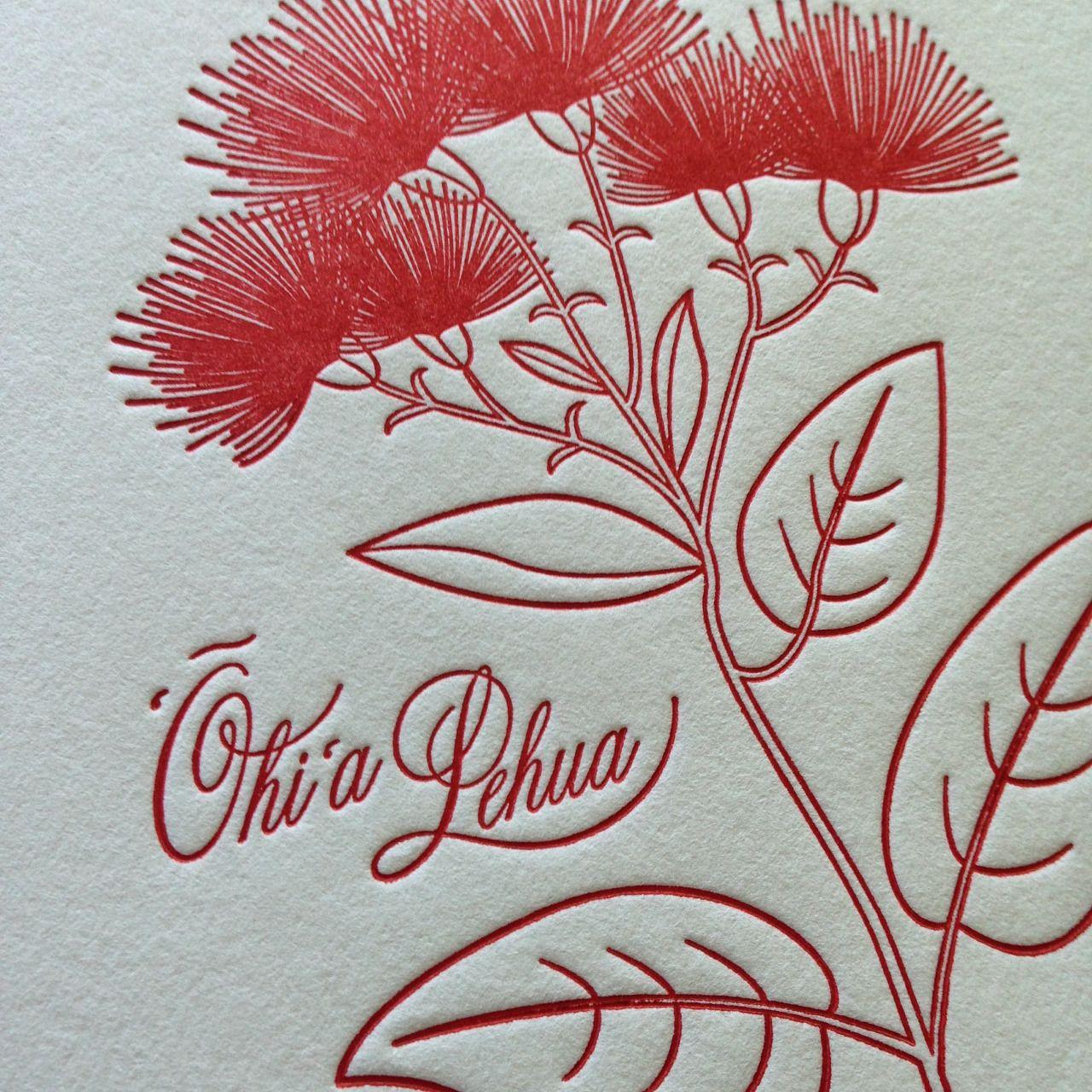 Ōhi'a Lehua prints by Aloha Letterpress on the island of.